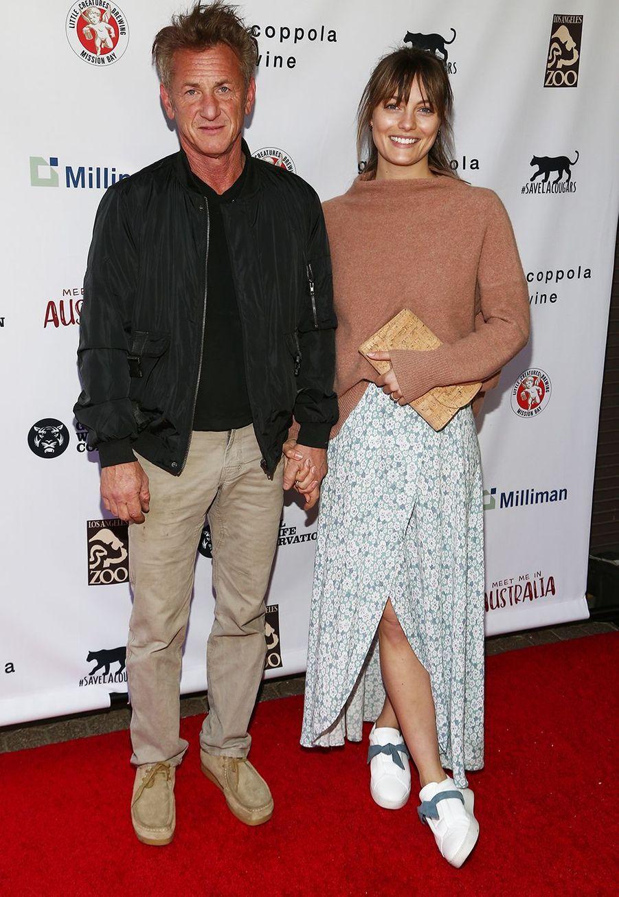 Sean Penn etLeila Georgeau gala «Australia Wildfire Relief Efforts» au zoo de Los Angeles le 8 mars 2020