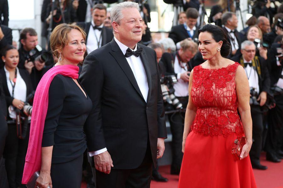 Ségolène Royal, Al Gore et sa compagneElizabeth Keadle au festival de Cannes.