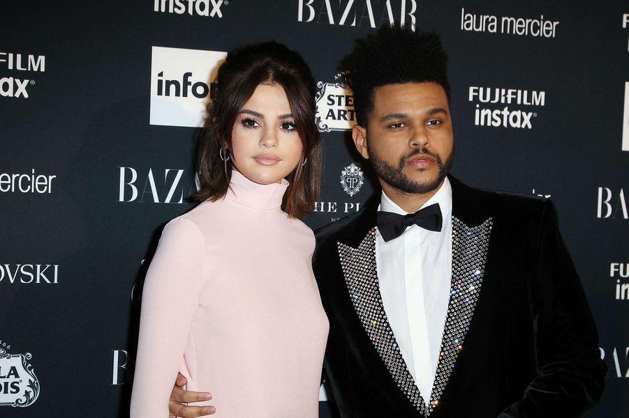 Selena Gomez et The Weeknd à lasoirée Harper's Bazaar ICONS Party, à New York, le 8 septembre 2017.