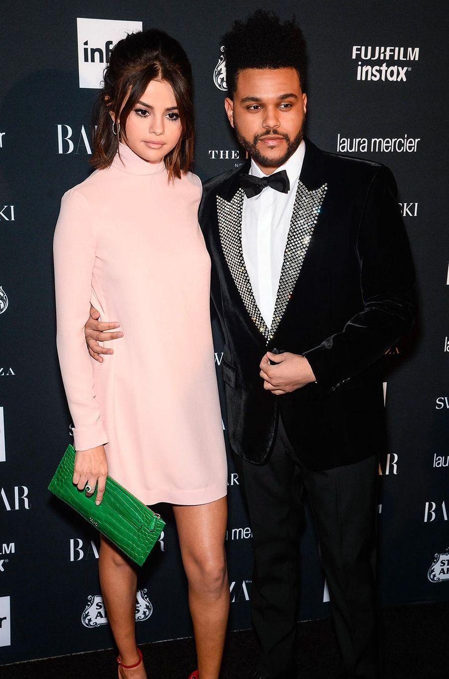 Selena Gomez et The Weeknd à la soirée Harper's Bazaar Icons à New York en septembre 2017