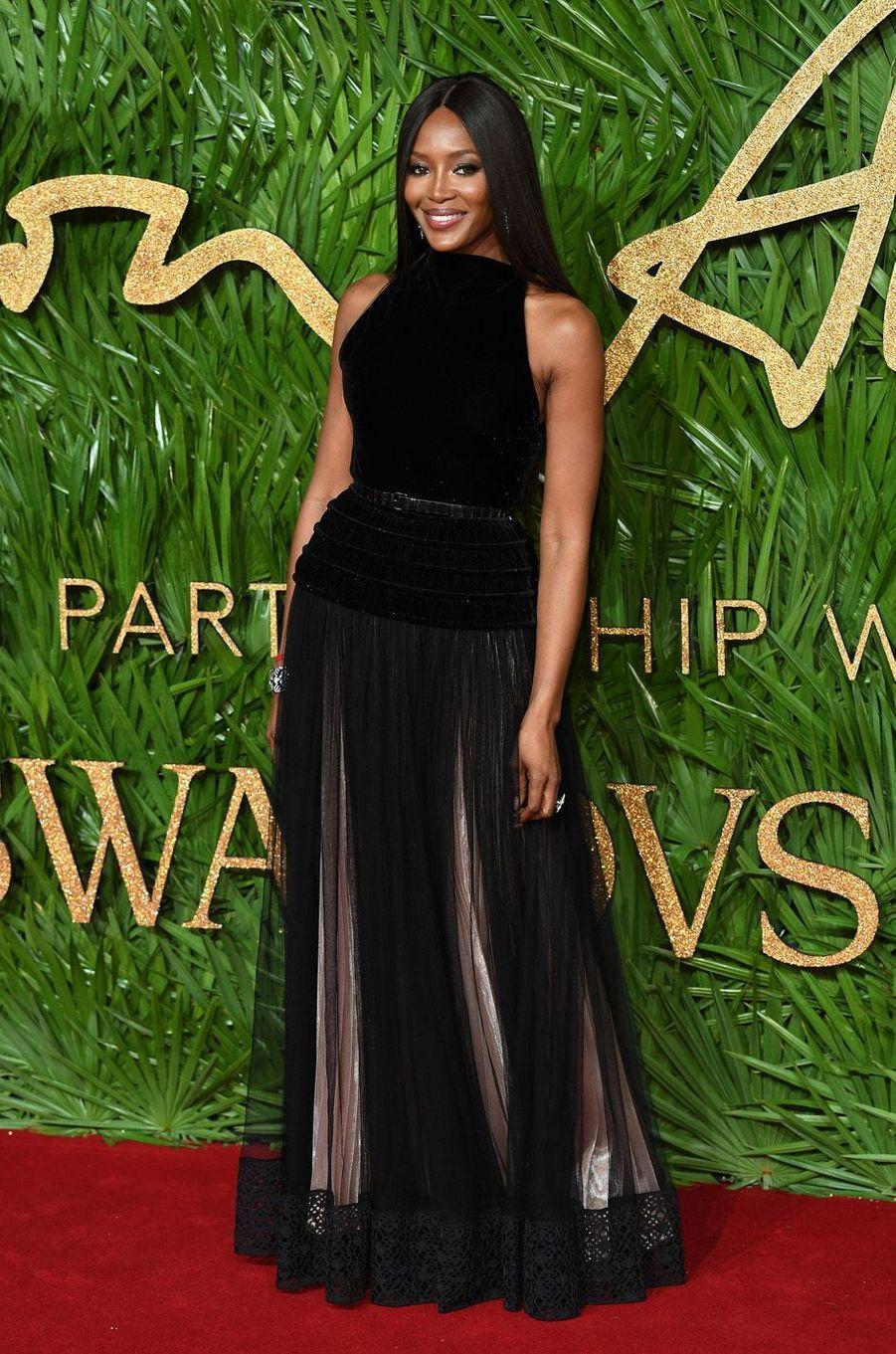 Naomi Campbellaux Fashion Awards, le 4 décembre 2017 à Londres.