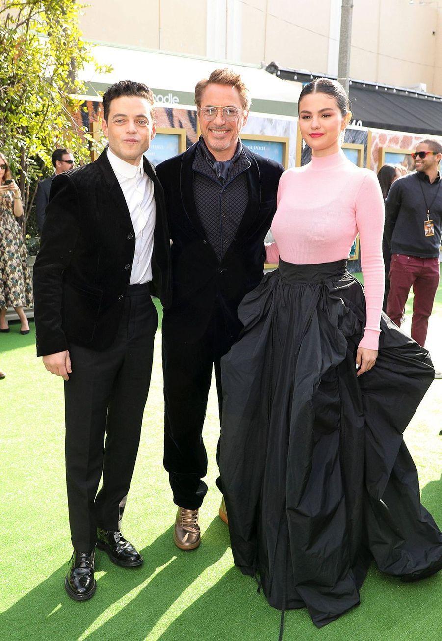 """Rami Malek, Selena Gomez et Robert Downey Jr.lors de la première du film""""Le Voyage du Dr Dolittle"""", àLos Angeles le 11 janvier 2020."""