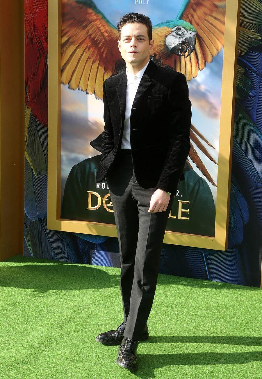 """Rami Maleklors de la première du film""""Le Voyage du Dr Dolittle"""", àLos Angeles le 11 janvier 2020."""