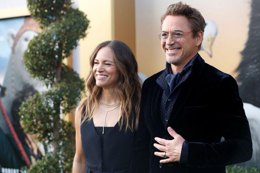 """Robert Downey Jr. et sa femme Susan Downeylors de la première du film""""Le Voyage du Dr Dolittle"""", àLos Angeles le 11 janvier 2020."""