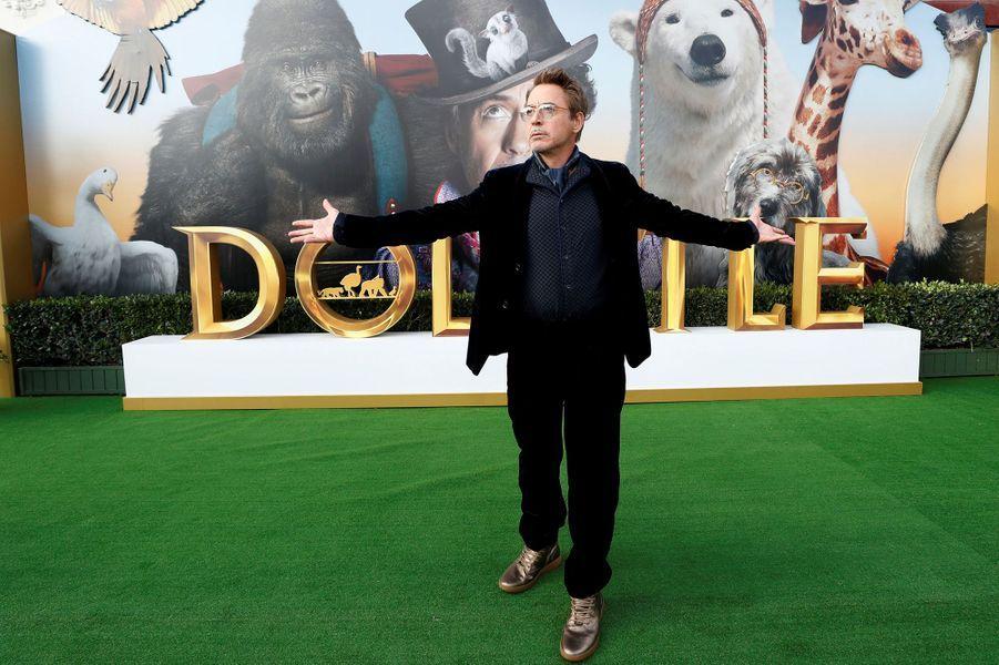 """Robert Downey Jr.lors de la première du film""""Le Voyage du Dr Dolittle"""", àLos Angeles le 11 janvier 2020."""
