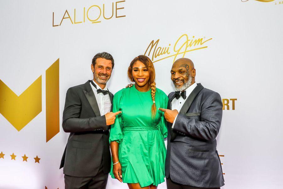 Serena Williams entourée de Patrick Mouratoglou et Mike Tysonaugala annuel duMouratoglou Resort à Biot le 23 juin 2019