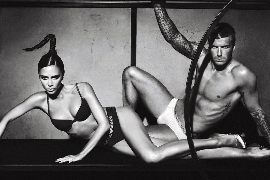 David et Victoria Beckham pour Emporio Armani
