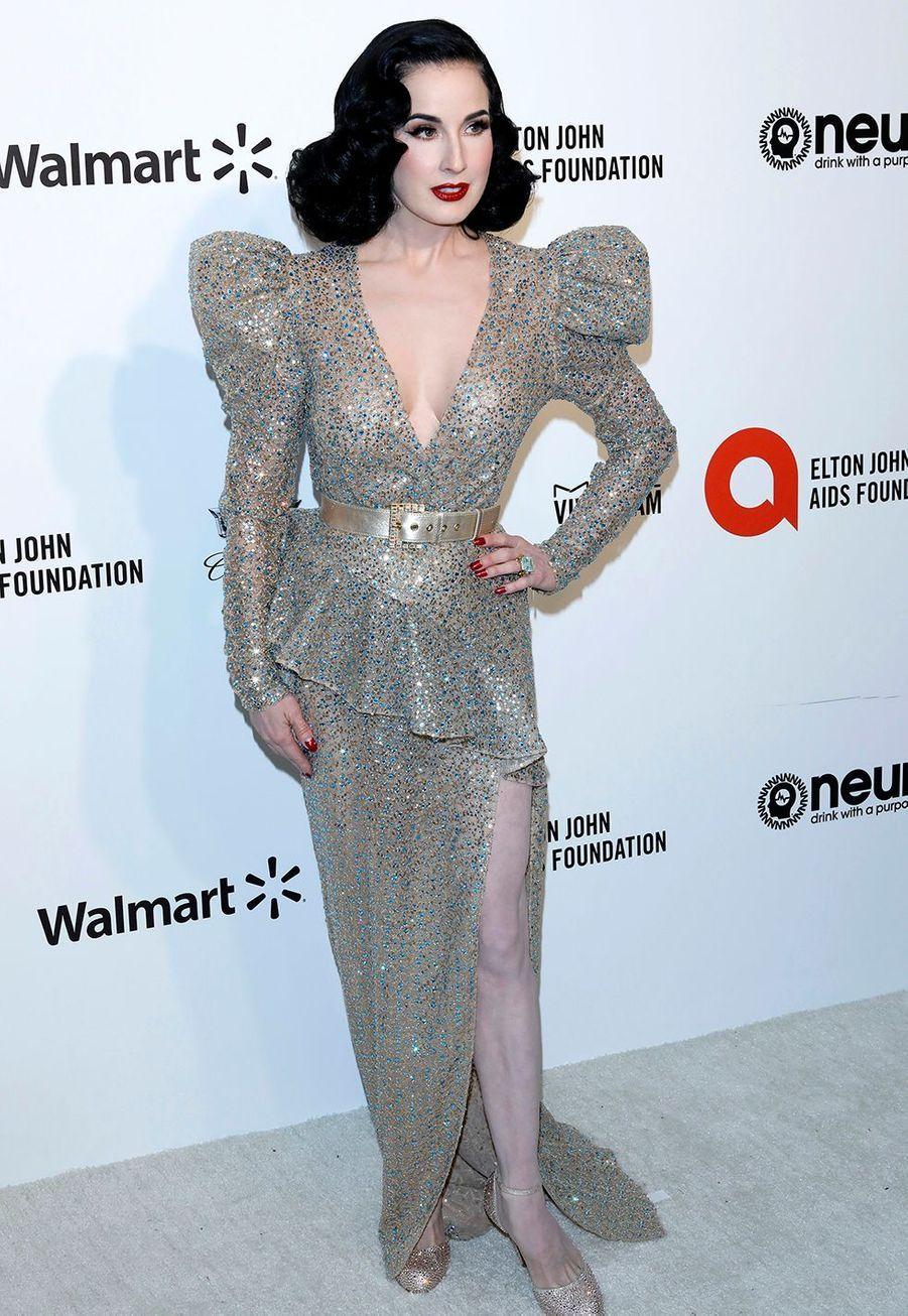 Dita von Teeselorsde la soirée d'Elton John contre le sida à Los Angeles le 9 février 2020.
