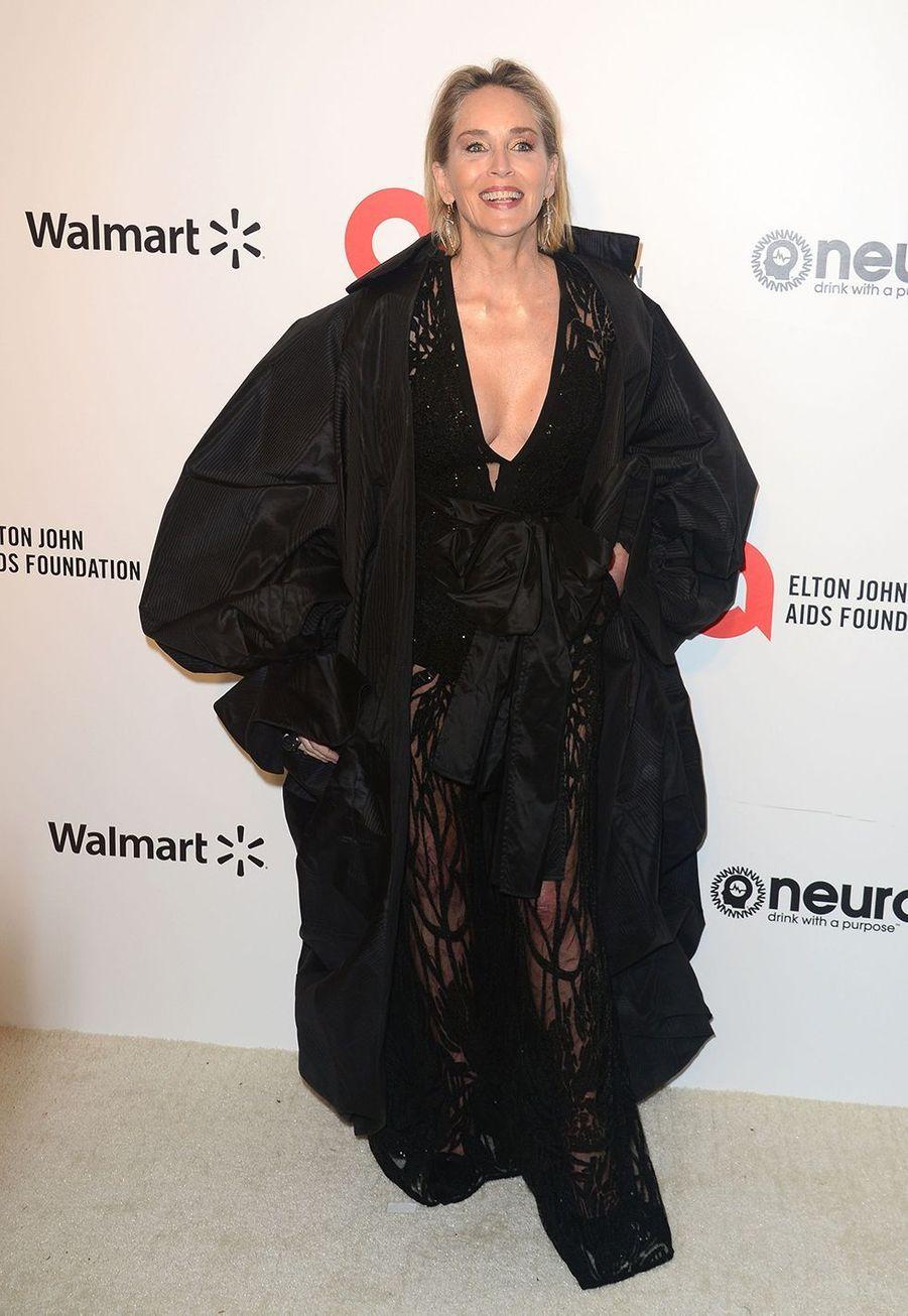 Sharon Stone lorsde la soirée d'Elton John contre le sida à Los Angeles le 9 février 2020.