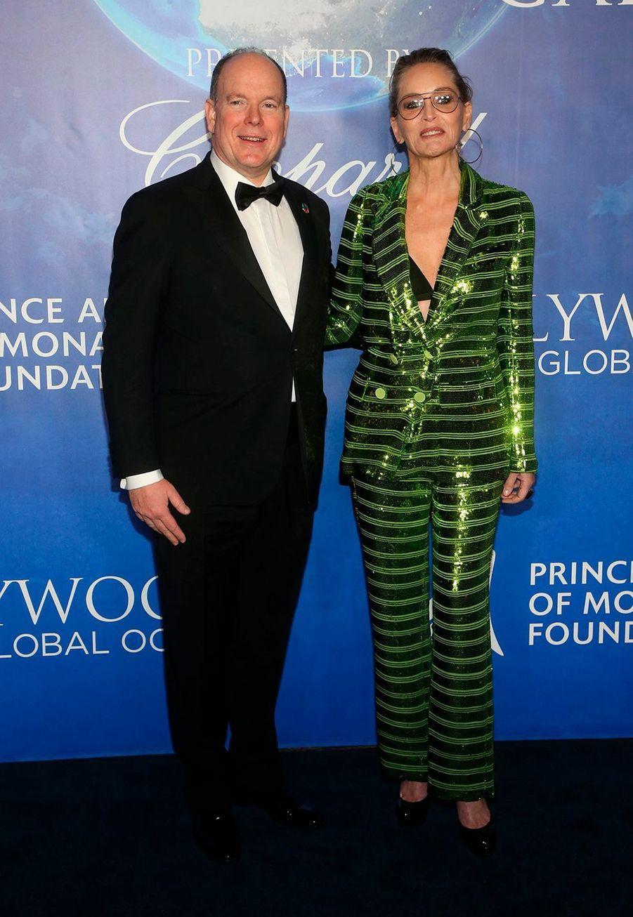 Sharon Stone et le Prince Albert II de Monacolors duGlobal Ocean Gala à Hollywood le 6 février 2020.