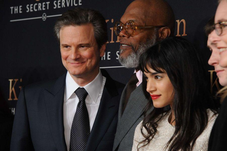 Sofia Boutella avec Colin Firth et Samuel L. Jackson en 2015.