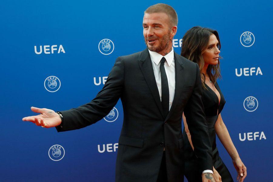 David et Victoria Beckhamau tirage au sort de la Ligue des champions de l'UEFA 2018/2019, à Monaco jeudi