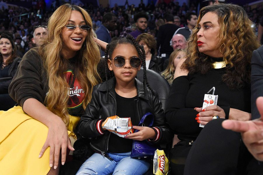 Beyoncé, Blue Ivy et Tina Knowles au NBA All-Star Game