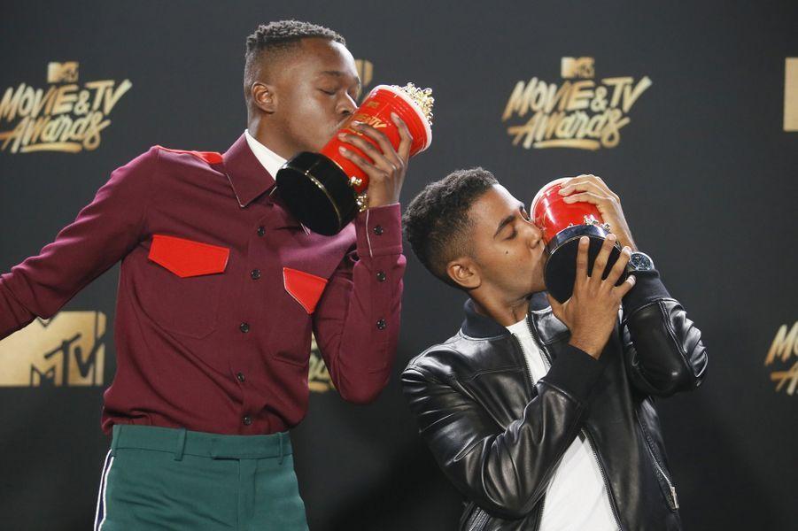 Ashton Sanders et Jharrel Jeromeaux MTV Movie and TV Awards, à Los Angeles, le 7 mai 2017.