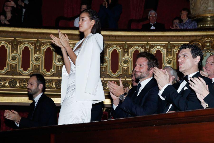 Irina Shayk, Bradley Cooper et Marc Lavoine à Paris le 9 mars 2016