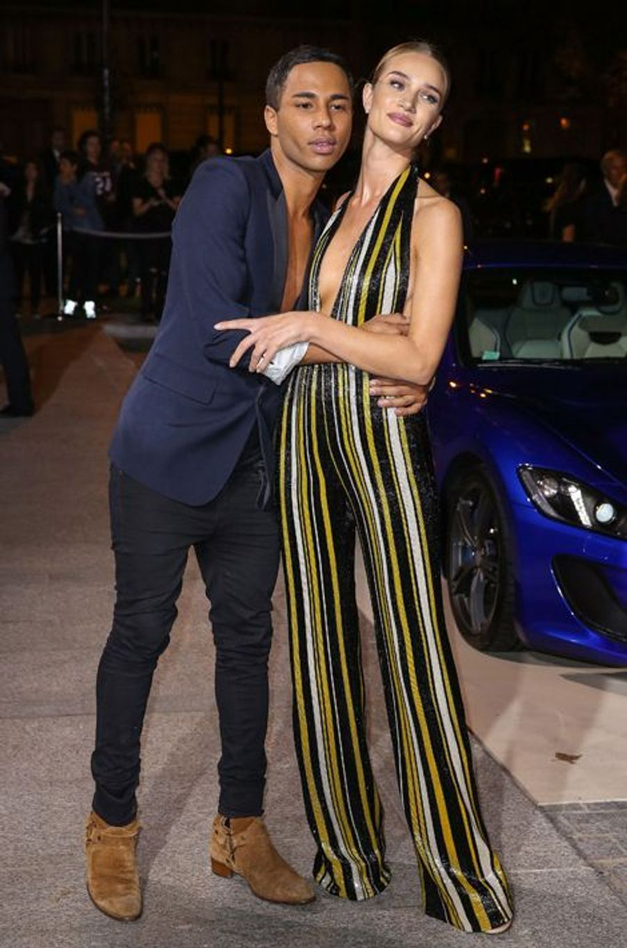 Olivier Rousteing et Rosie Huntington-Whiteley à la soirée CR Fashion Book organisée à Paris le mardi 30 septembre 2014