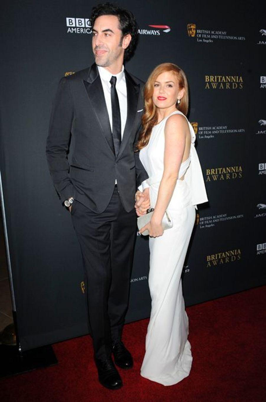 Isla Fisher et Sacha Baron Cohen à Los Angeles le 9 novembre 2013.
