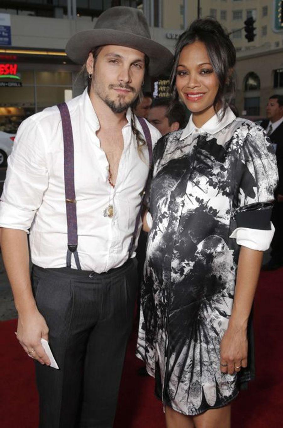 Zoe Saldanea et Marco Perego à Los Angeles le 27 août 2014.