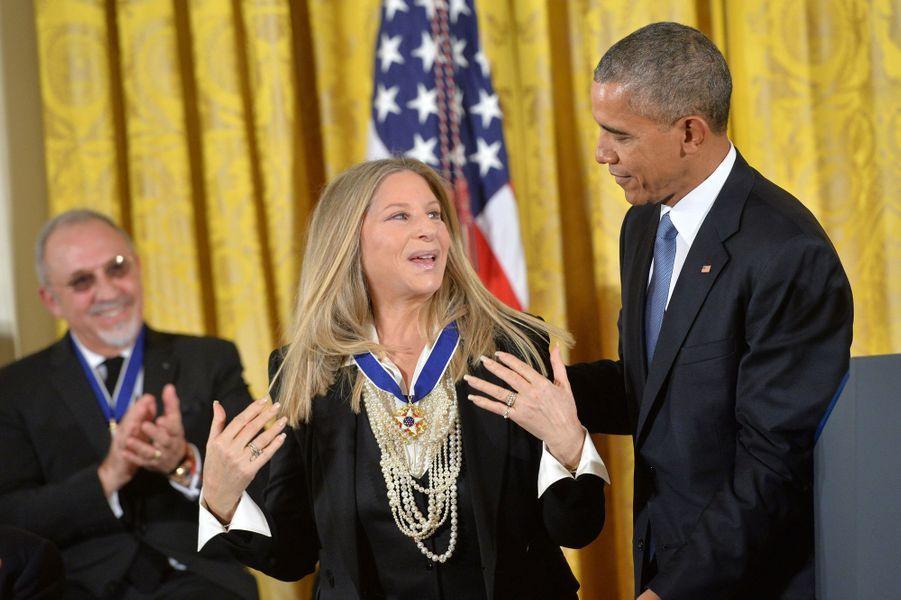 Barbra Streisand et Barack Obama à Washington le 24 novembre 2015