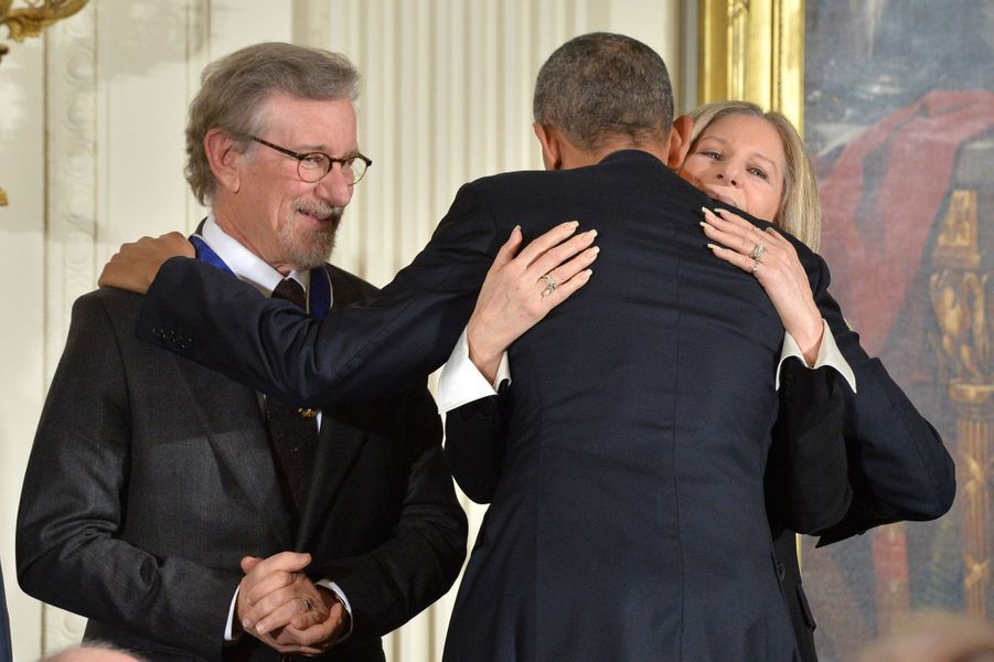 Steven Spielberg, Barbra Streisand et Barack Obama à Washington le 24 novembre 2015