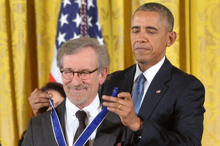 Steven Spielberg et Barack Obama à Washington le 24 novembre 2015