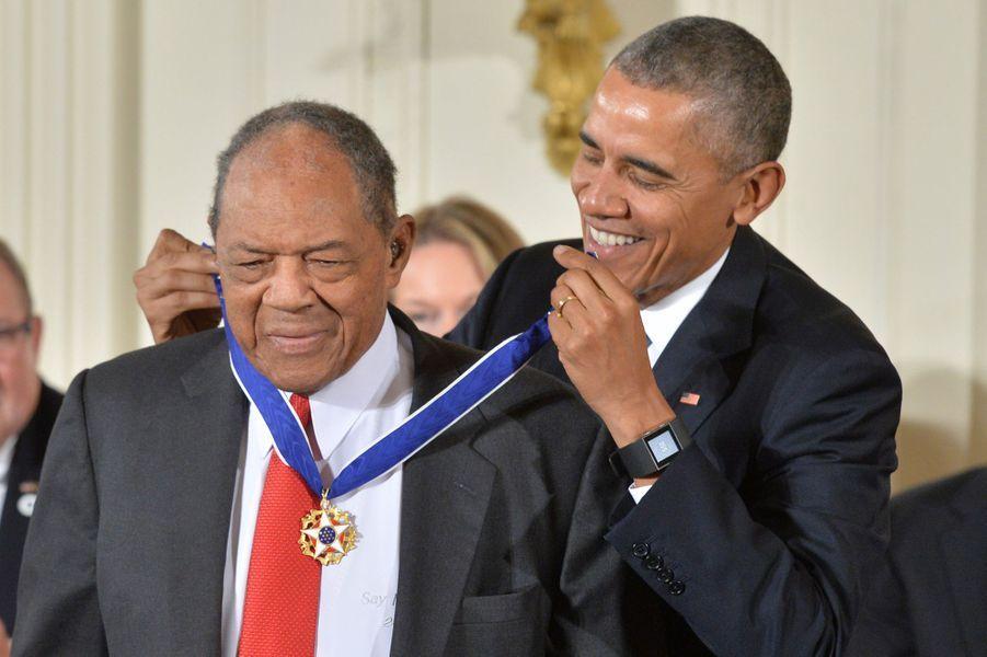 Willie Mays et Barack Obama à Washington le 24 novembre 2015