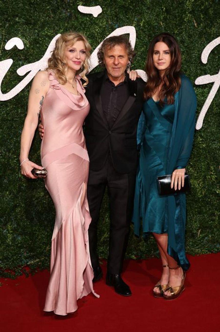 Courtney Love, Renzo Rosso et Lana Del Rey à Londres le 1er décembre 2014