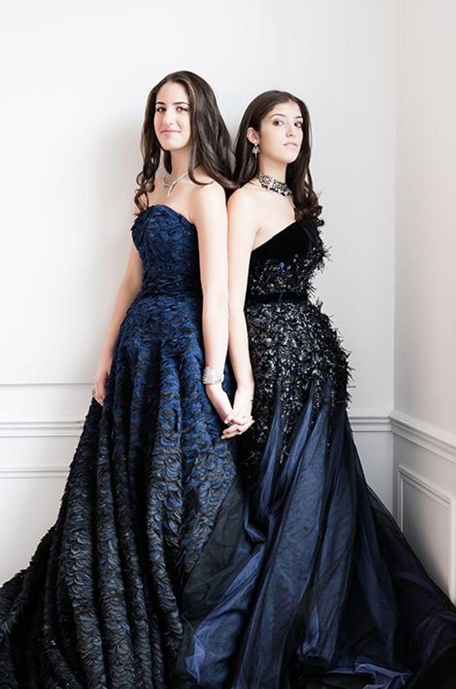 Kareen et Natalia Fares (Liban) en robe Ralph & Russo, bijoux Payal New York