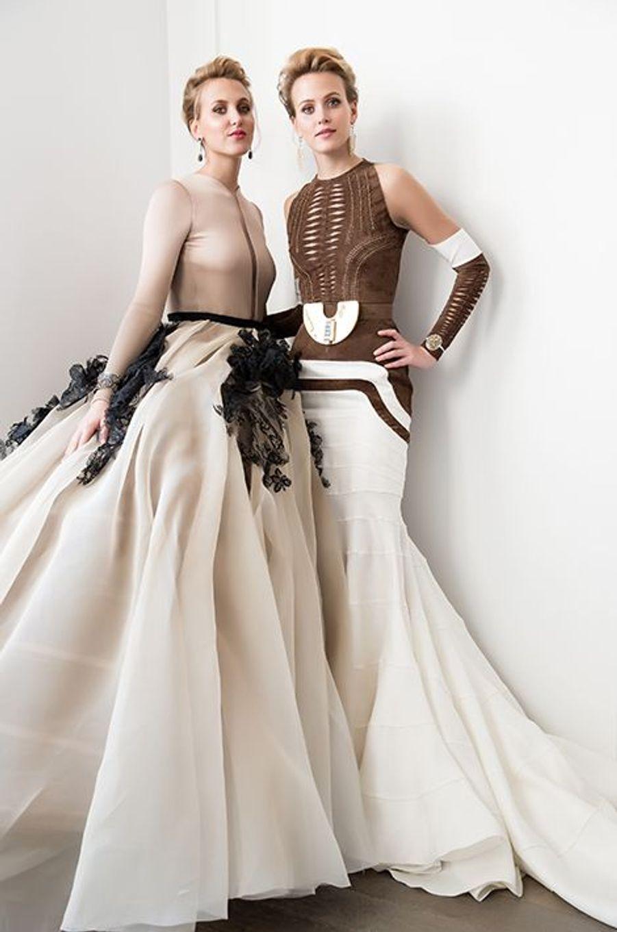 Victoria et Sarah von Faber-Castell (Allemagne) en robe Stéphane Rolland Haute-Couture, bijoux Payal New York