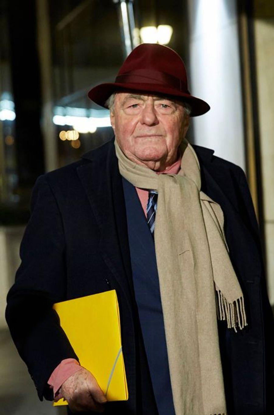 Claude Lanzmann arrive au 30ème dîner du Crif à Paris, le 23 février 2015