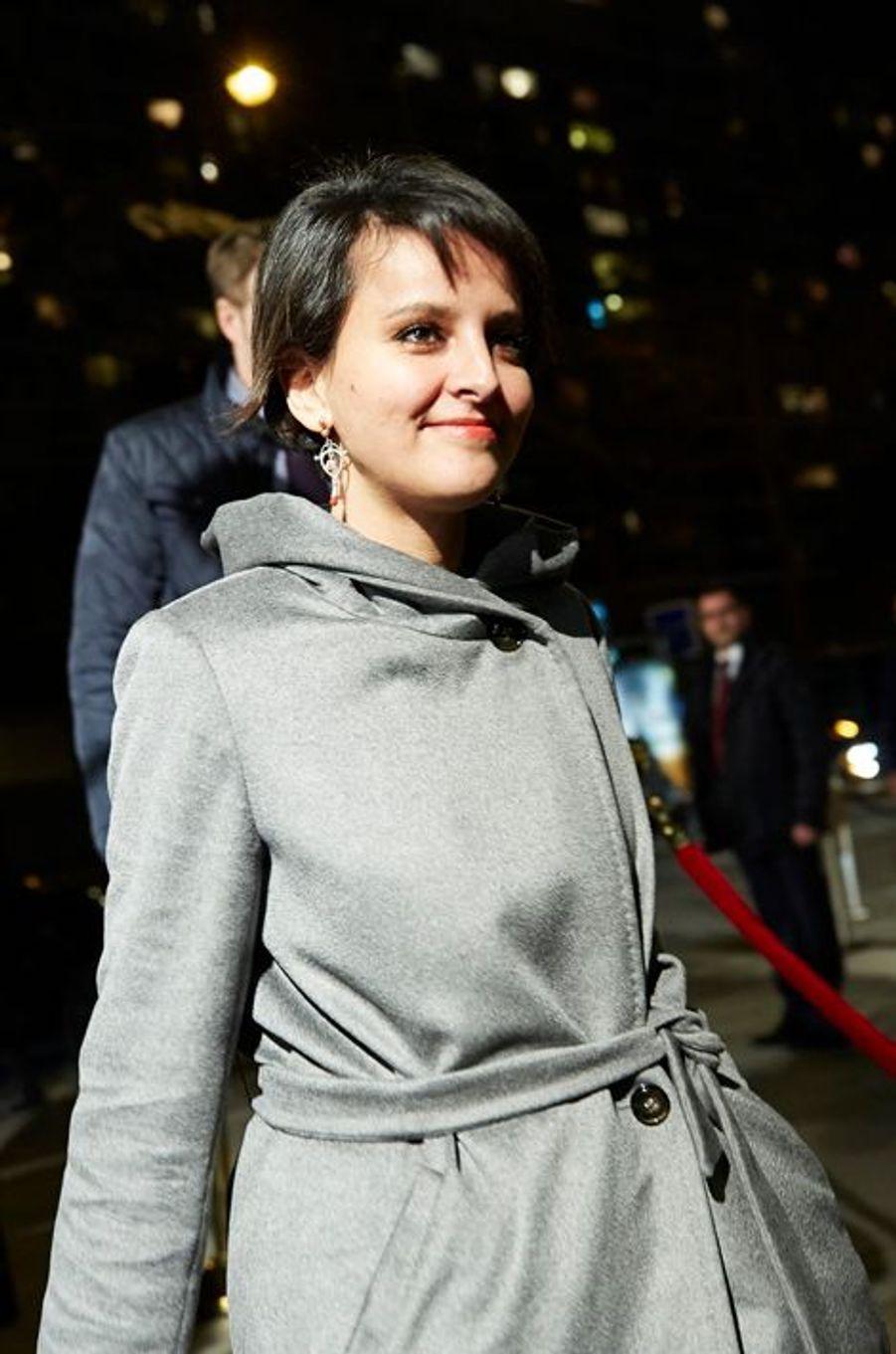 Najat Vallaut-Belkacem arrive au 30ème dîner du Crif à Paris, le 23 février 2015
