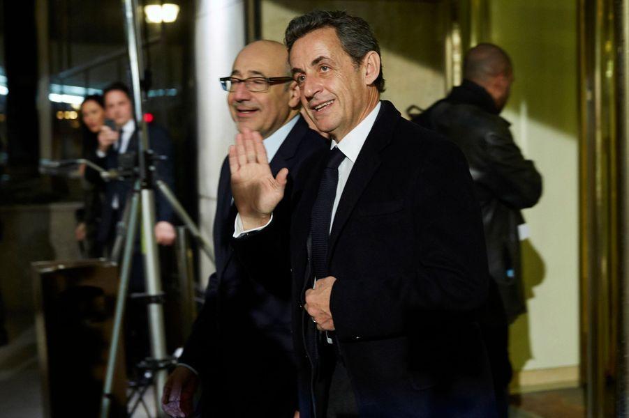 Nicolas Sarkozy arrive au 30ème dîner du Crif à Paris, le 23 février 2015