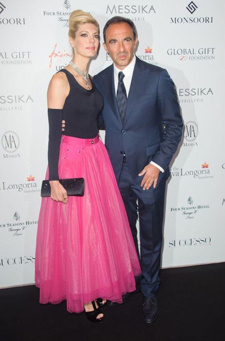 Tina Grigoriou et Nikos Aliagas à Paris le 25 mai 2015