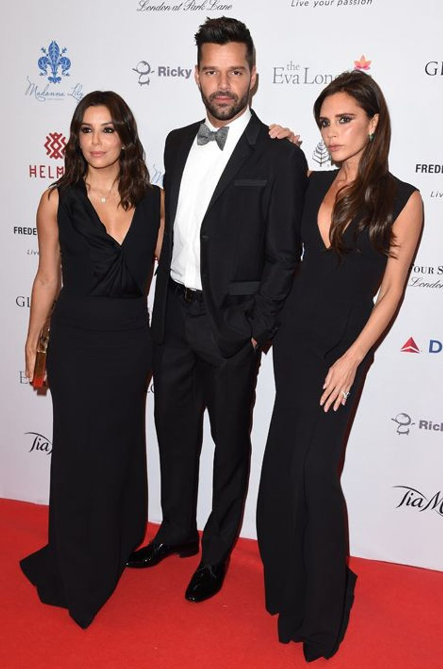 Eva Longoria, Ricky Martin et Victoria Beckham à Londres le 17 novembre 2014