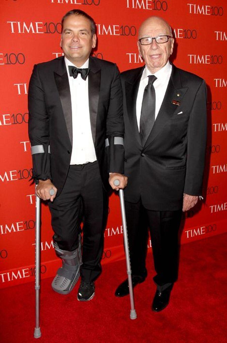 Lachlan et Rupert Murdoch à New York le 21 avril 2015