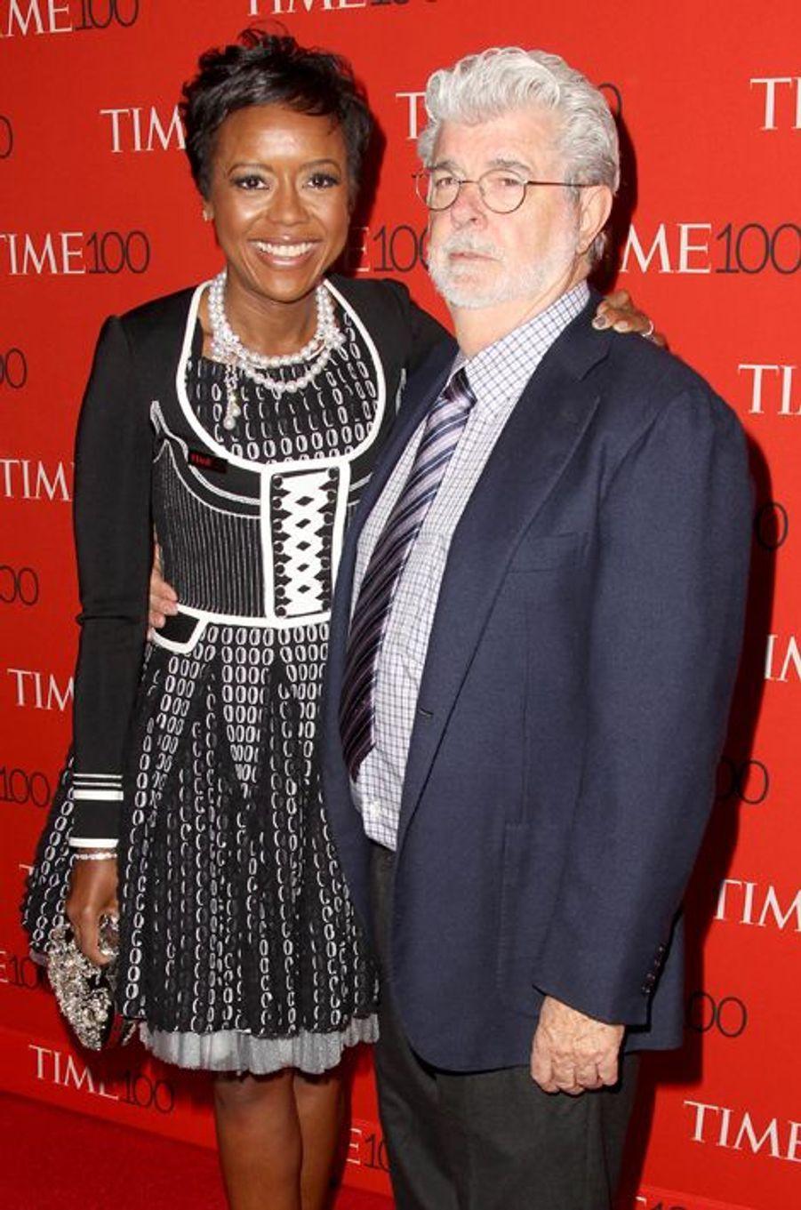 Mellody Hobson et George Lucas à New York le 21 avril 2015