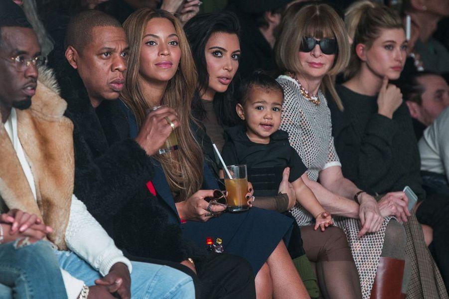Jay Z, Beyoncé et Kim Kardashian au défilé Kanye West pour Adidas, à New York le 12 février 2015