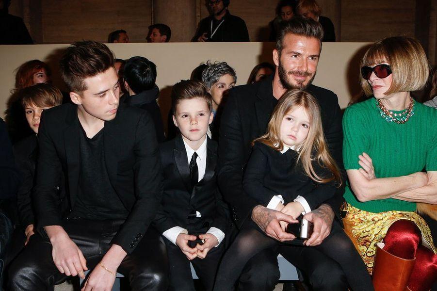 Le clan Beckham au défilé de Victoria, à New York le 15 février 2015