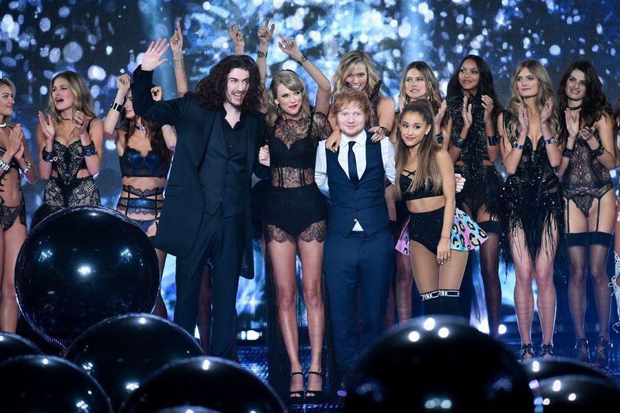 Hozier, Taylor Swift, Ed Sheeran et Ariana Grande à Londres le 2 décembre 2014
