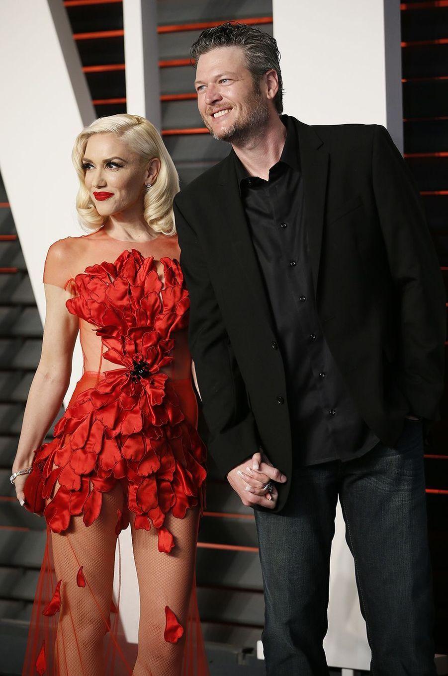 """Gwen Stefani et Blake Shelton à l'after-party du magazine """"Vanity Fair"""" le 28 février 2016 à Los Angeles"""