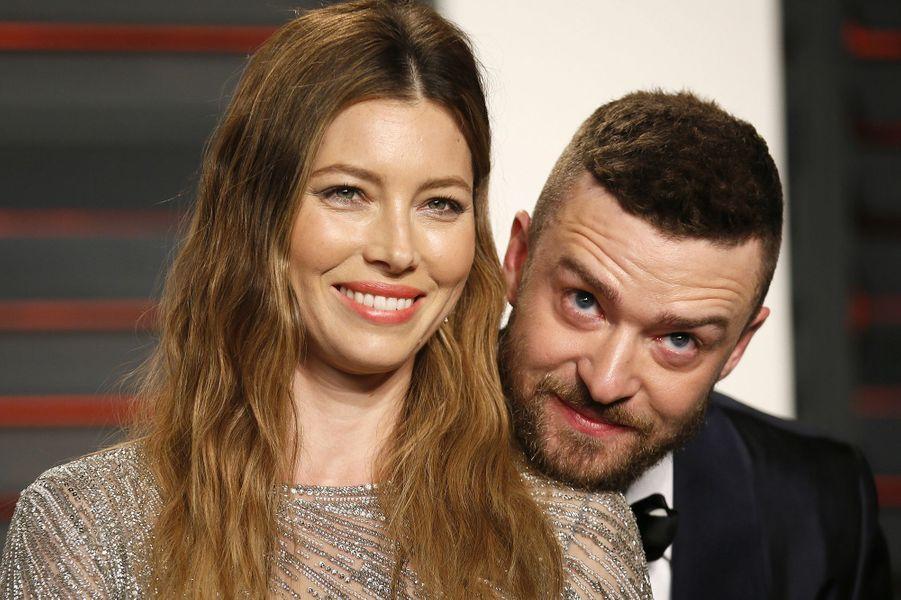 """Jessica Biel et Justin Timberlake à l'after-party du magazine """"Vanity Fair"""" le 28 février 2016 à Los Angeles"""