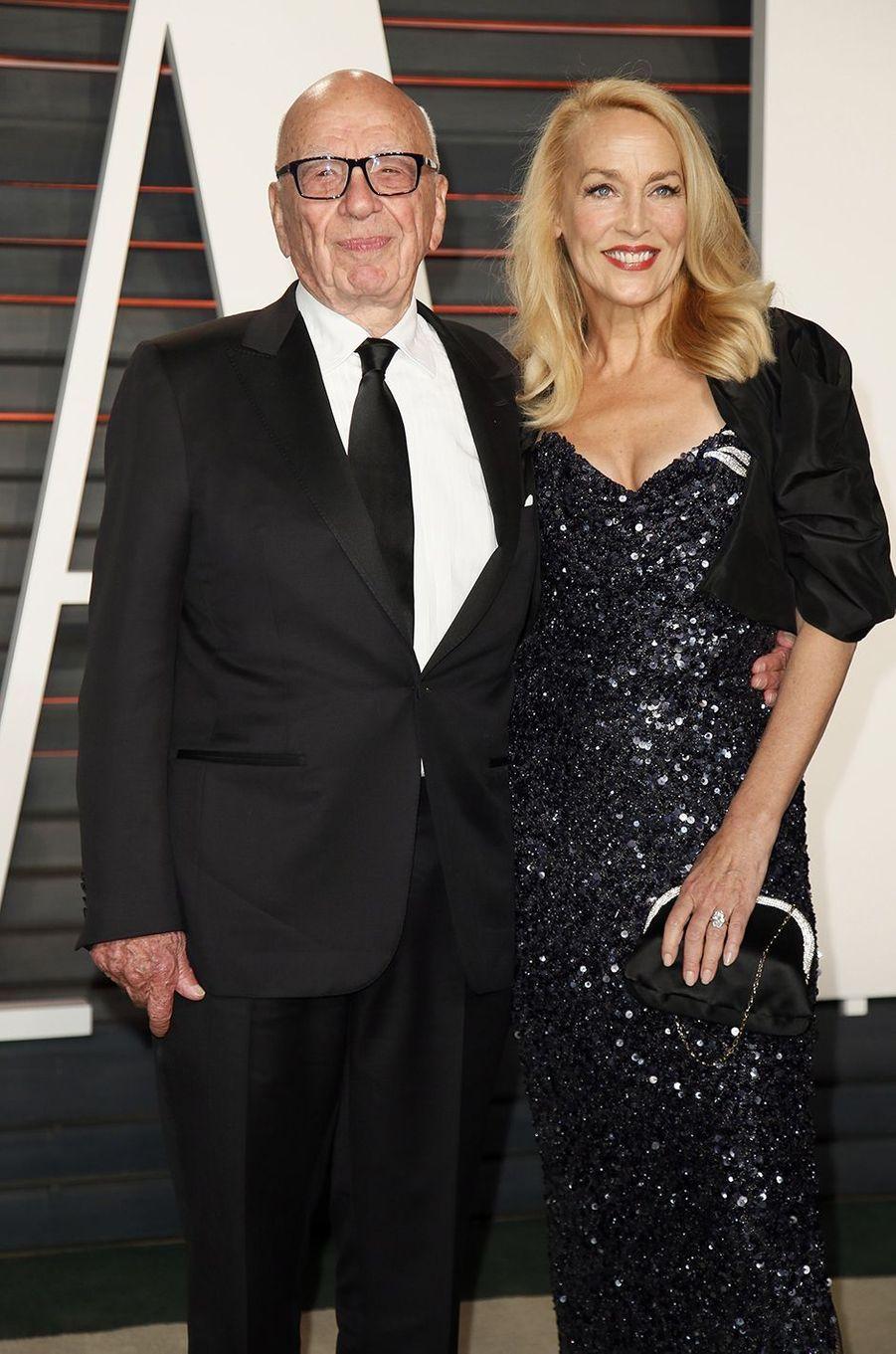 """Rupert Murdoch et Jerry Hall à l'after-party """"Vanity Fair"""" le 28 février 2016 à Los Angeles"""