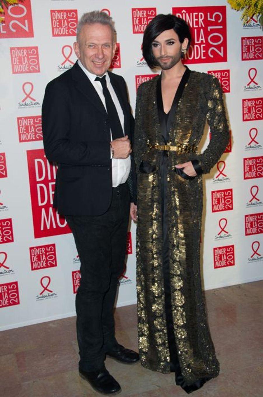 Jean-Paul Gaultier et Conchita Wurst à Paris le 29 janvier 2015