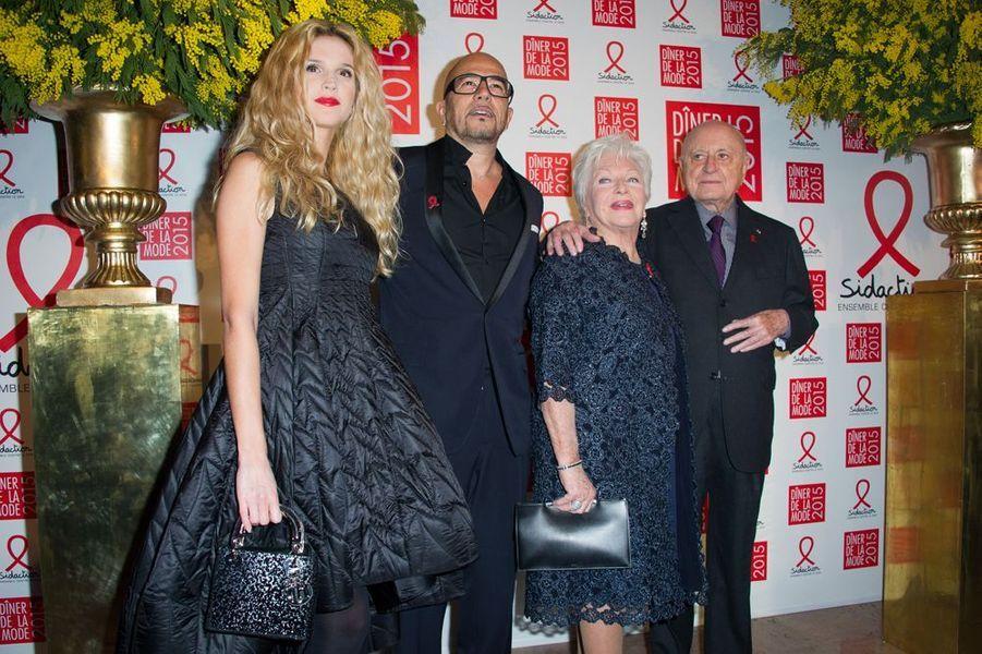 Julie Hantson, Pascal Obispo, Line Renaud et Pierre Bergé à Paris le 29 janvier 2015