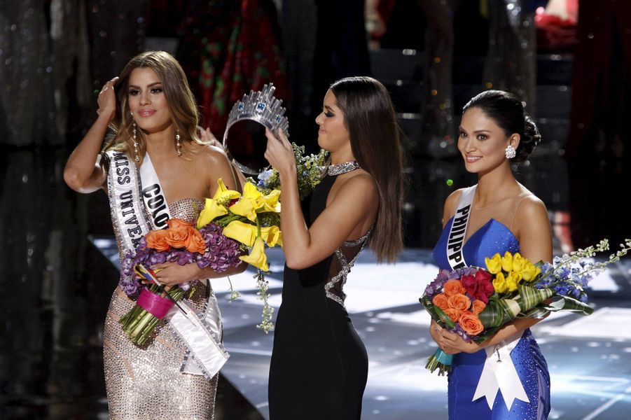 Miss Colombie (Ariadna Gutierrez), Paulina Vega (Miss Univers 2014) et Miss Philippines (Pia Alonzo Wurtzbach)