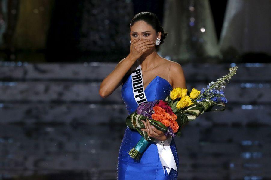 Miss Philippines, Pia Alonzo Wurtzbach, apprend qu'elle est Miss Univers 2015
