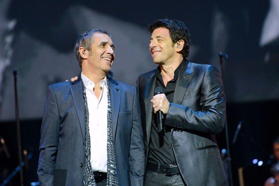 Julien Clerc et Patrick Bruel à Paris le 12 janvier 2014
