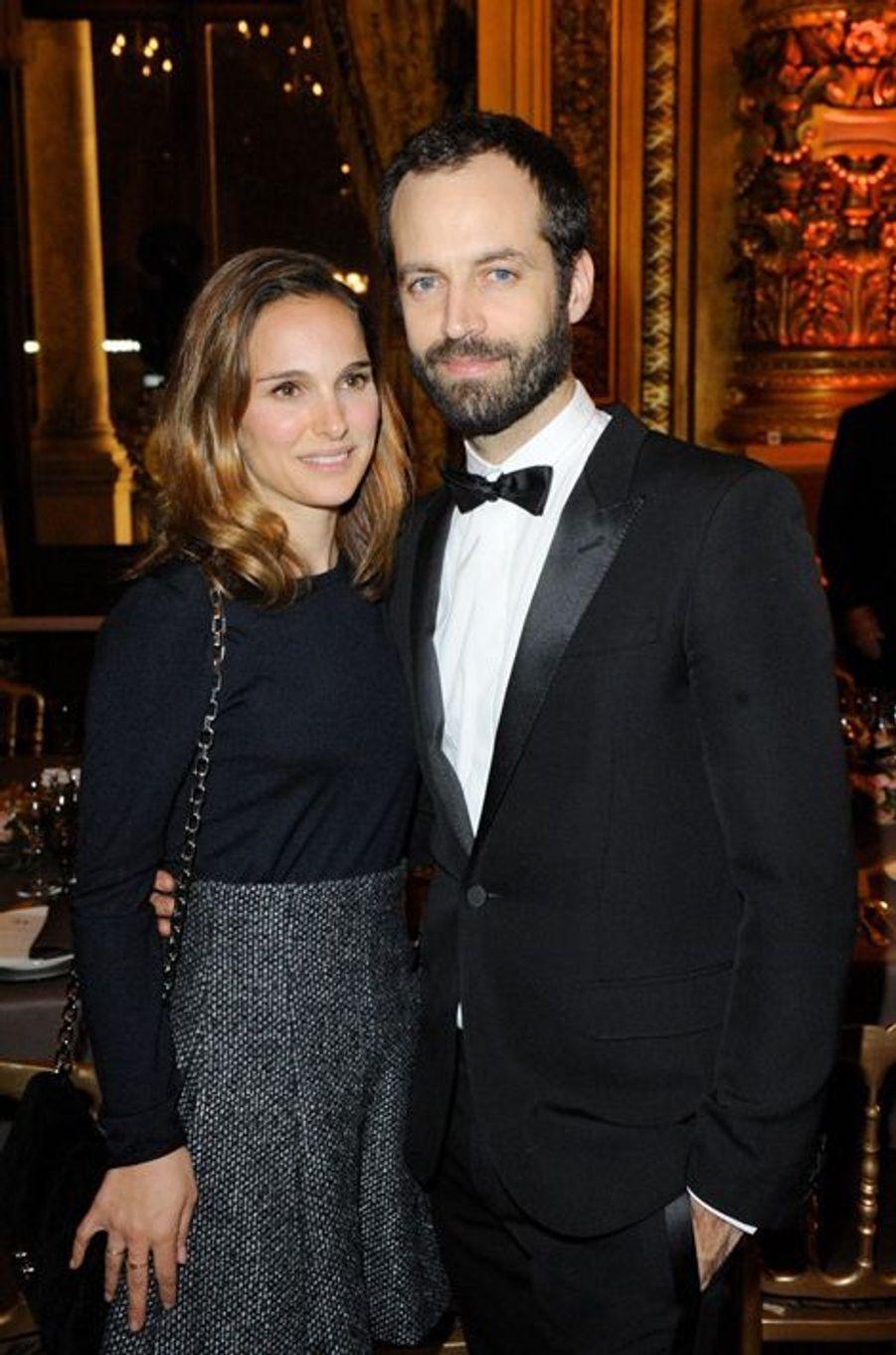 Natalie Portman et Benjamin Millepied à Paris le 12 janvier 2014