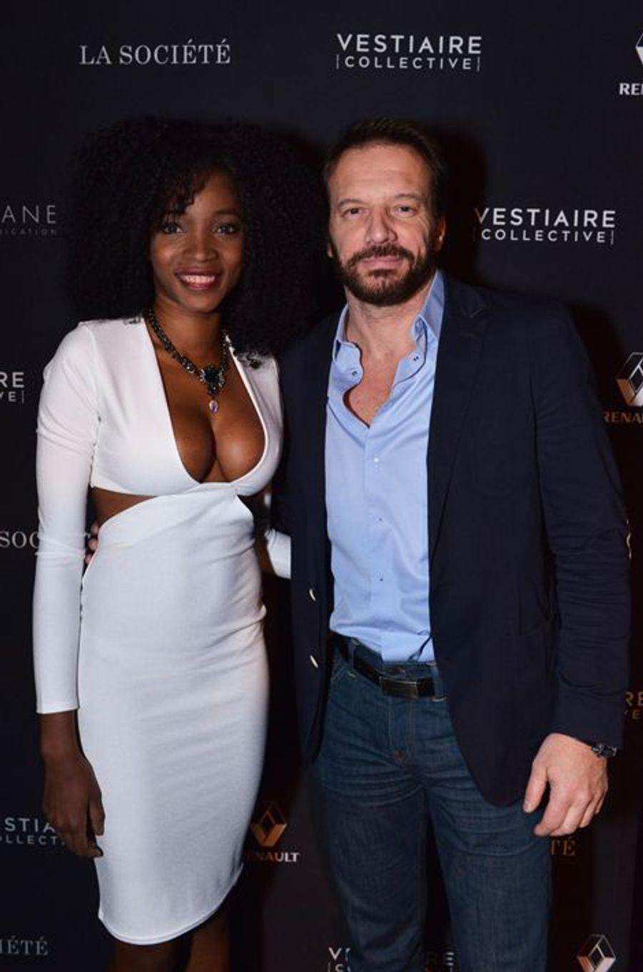 Samuel LeBihan et son épouse, Daniela, à Paris le 5 février 2015