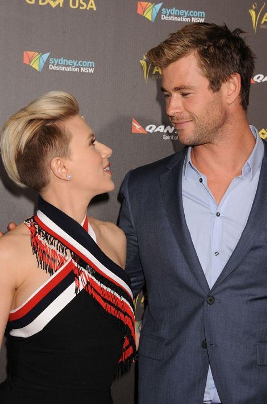 Scarlett Johansson et Chris Hemsworth à Los Angeles le 31 janvier 2015